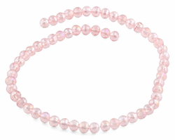 8mm Pink Faceted Round Crystal Beads