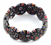 Black Milleflori Glass Cushion Bracelets