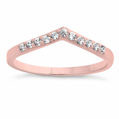 Rose Gold Plated Pointed V CZ Ring