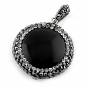 Stainless Steel Black Round Stone CZ Pendant