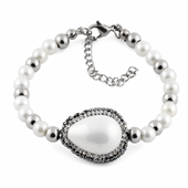 Stainless Steel Oval Mother of Pearl CZ Bracelet