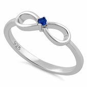 Stelring Silver Infinity Ribbon Blue Spinel CZ Ring