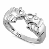 Sterling Silver 2 Elephants Ring