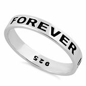 Sterling Silver 4mm Forever In My Heart Ring