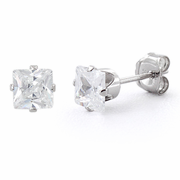 Sterling Silver 4mm Princess Cut CZ Stud Earrings Square
