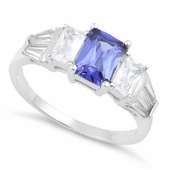 Sterling Silver Rectangular Stone Tanzanite CZ Ring