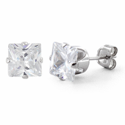 Sterling Silver 6mm Princess Cut CZ Stud Earrings Square