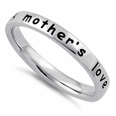 """Sterling Silver """"A mother's love is open arms"""" Ring"""