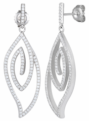 Sterling Silver Abstract Leaf CZ Dangle Earrings