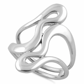 Sterling Silver Abstract Wriggle Ring