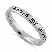 "Sterling Silver ""Always my grandmother, forever my friend"" Ring"