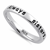 "Sterling Silver ""Always sisters, forever friends"" Ring"