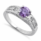 Sterling Silver Amethyst Round Cut Engagement Ring