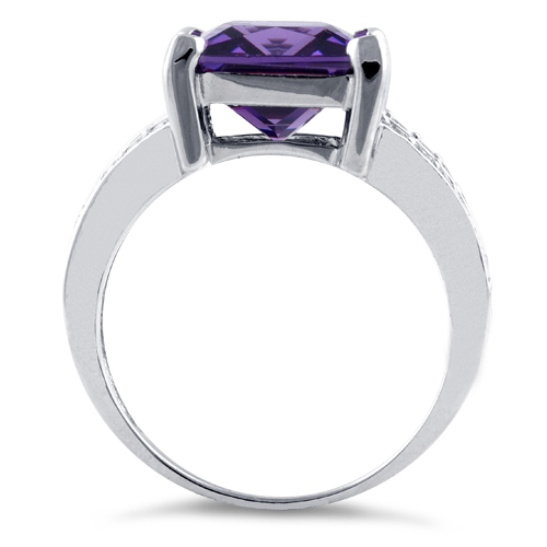 Sterling Silver Amethyst Square Cz Ring