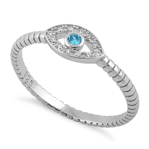 sterling silver aqua blue evil eye cz ring