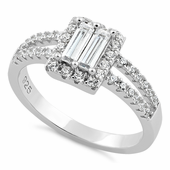 Sterling Silver Baguette CZ Ring