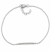 Sterling Silver Bar Clear CZ Bracelet