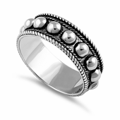Sterling Silver Beaded Bali Design Ring