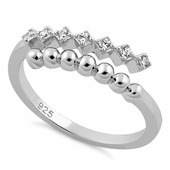 Sterling Silver Beads and CZ Adjustable Size Ring