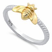 Sterling Silver Bee Two Tone Ring