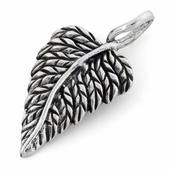 Sterling Silver Big Leaf Oxidized Pendant