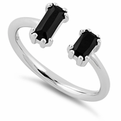 Sterling Silver Big & Small Black Emerald Cut CZ Ring