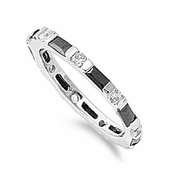 Sterling Silver Black and White CZ Eternity Ring