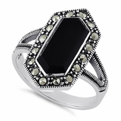 Sterling Silver Black Onyx Diamond Shaped Marcasite Ring
