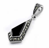 Sterling Silver Black Onyx Drop Marcasite Pendant