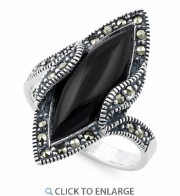 Sterling Silver Black Onyx Marquise Marcasite Ring