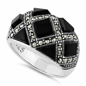 Sterling Silver Black Onyx Pattern Marcasite Ring