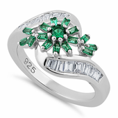 Sterling Silver Blooming Flower Emerald CZ Ring