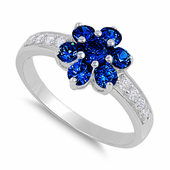 Sterling Silver Blue Sapphire Plumeria Flower CZ Ring