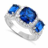 Sterling Silver Blue Sapphire Three Stone Halo CZ Ring