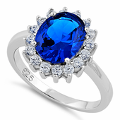 Sterling Silver Blue Sapphire CZ Ring