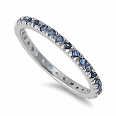 Sterling Silver Blue Sapphire Eternity CZ Ring