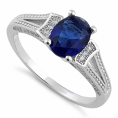 Sterling Silver Blue Sapphire Oval Cut CZ Ring