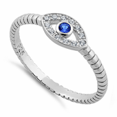 Sterling Silver Blue Stone Evil Eye CZ Ring