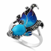 Sterling Silver Blue Turquoise Fish Ghost Marcasite Ring