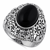 Sterling Silver Bold Plumeria Black Agate Ring