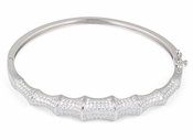 Sterling Silver Bones Pave CZ Bangle Bracelet