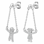 Sterling Silver Boy and Girl Hanging Chains CZ Earrings