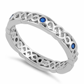 Sterling Silver Braided Eternity Blue Spinel CZ Ring