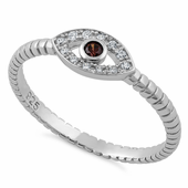 Sterling Silver Brown Stone Evil Eye CZ Ring