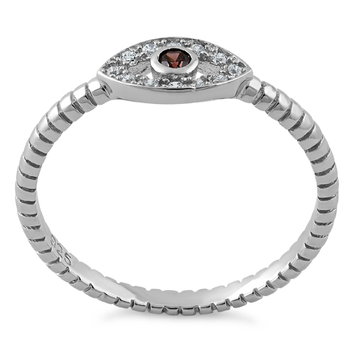 sterling silver brown evil eye cz ring