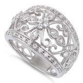 Sterling Silver Cage Cross Pave CZ Ring