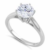Sterling Silver Cathedral Clear CZ Engagement Ring