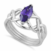 Sterling Silver Celtic Amethyst Marquise CZ Ring