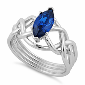 Sterling Silver Celtic Blue Spinel Marquise CZ Ring