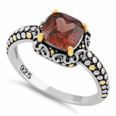 Sterling Silver Celtic Brown Cushion CZ Ring